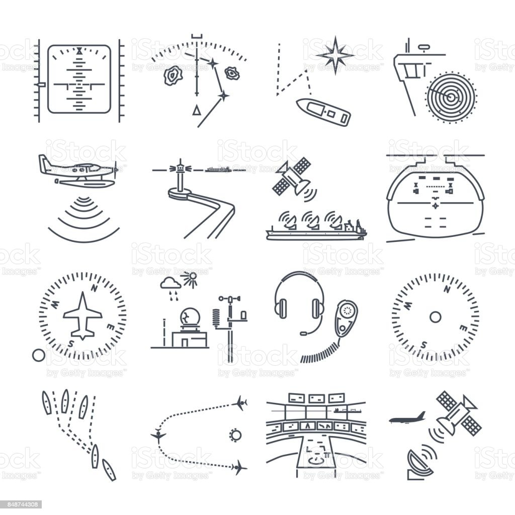 set of thin line icons sea and air navigation, equipment vector art illustration