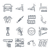 set of thin line icons servicing, maintenance of car and automobile