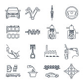 set of thin line icons servicing, maintenance, repair of car