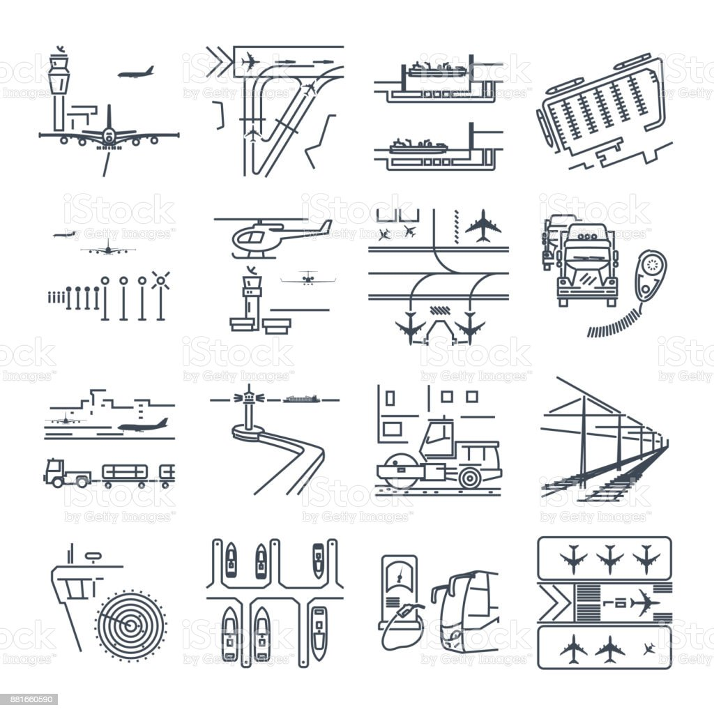 set of thin line icons transport infrastructure, road, air, sea vector art illustration