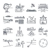 set of thin line icons water transport and sea port, oil platform, dry cargo ship