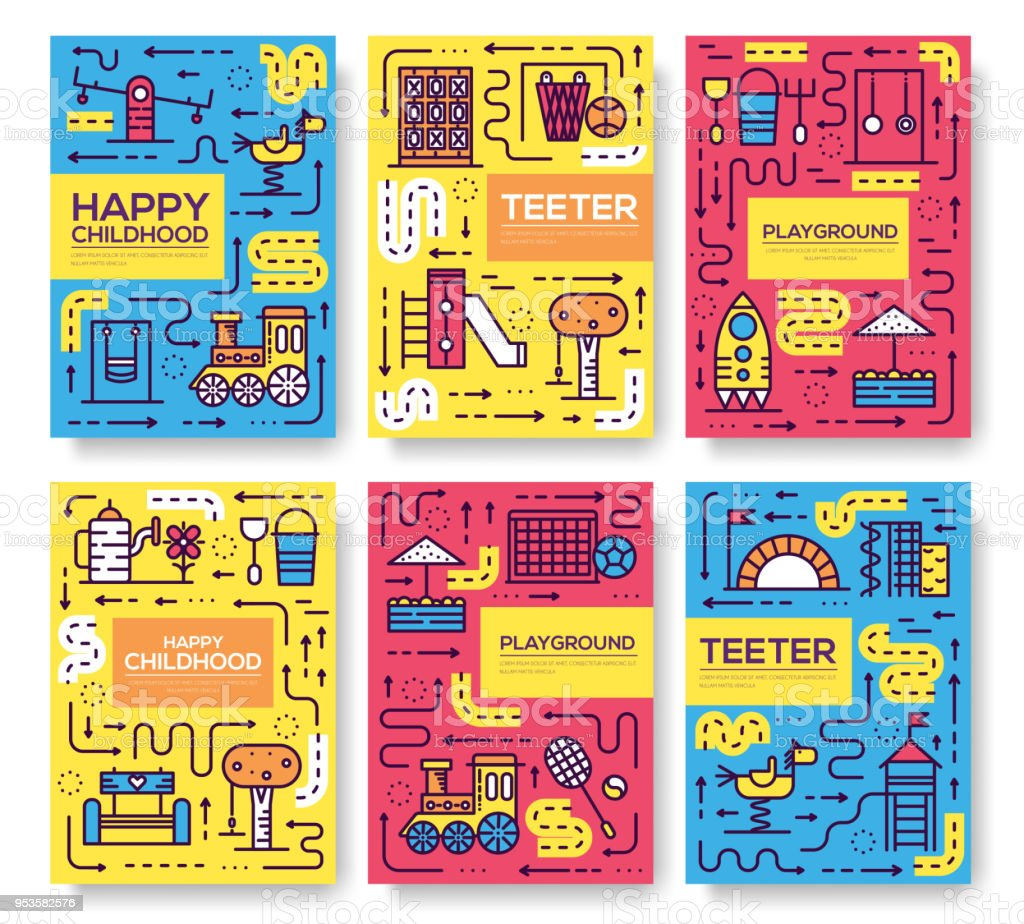 Set of thin line kids pattern concept. Art playground field, magazine, book, poster, abstract, banners, element. Vector  fun outdoor park  outline package greeting card or invitation brochure design.