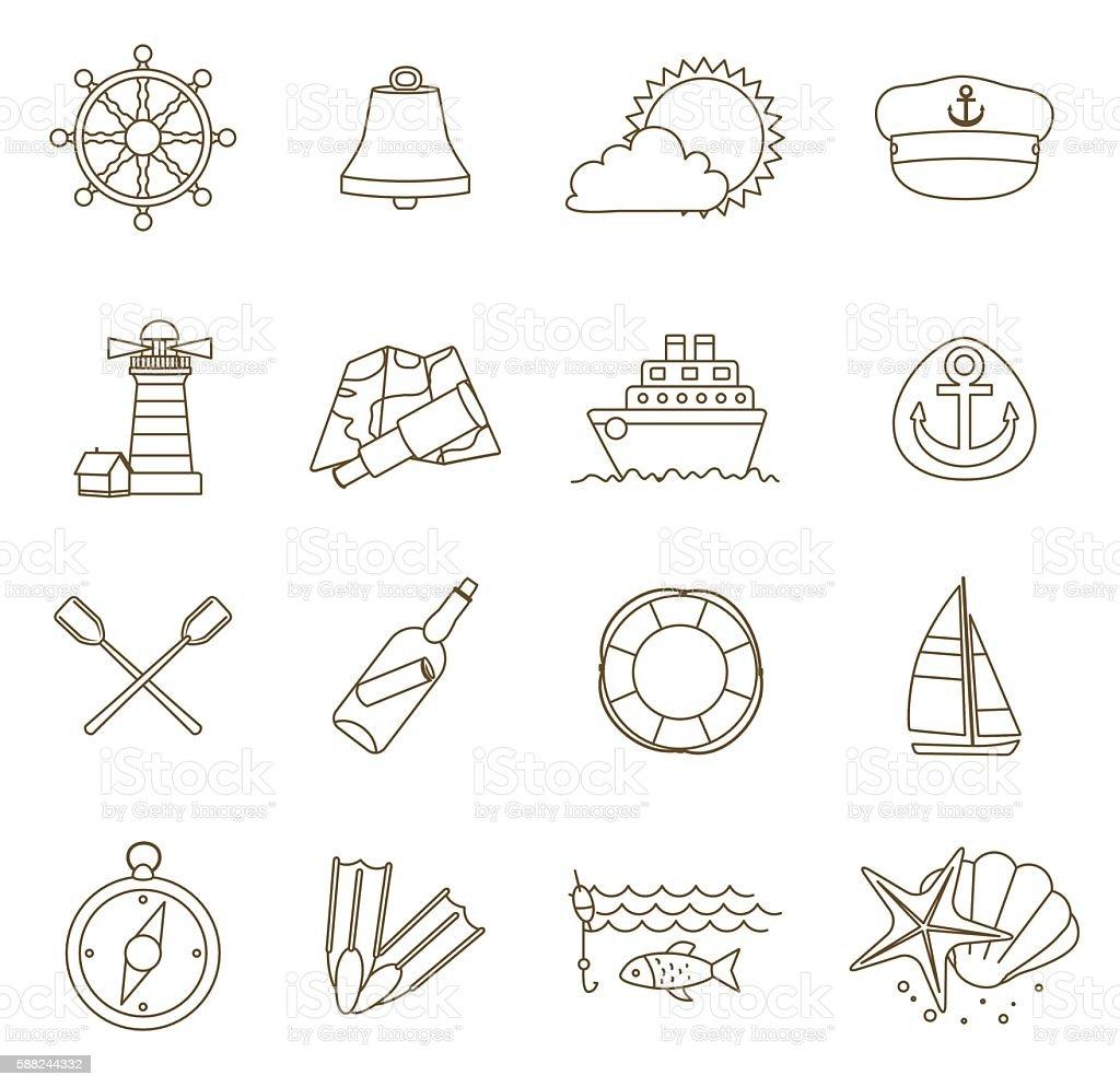 set of thin line nautical icons vector art illustration