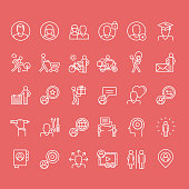 Thin line icons for social media, marketing, online shopping, communication, social network, education, events, contact, service.