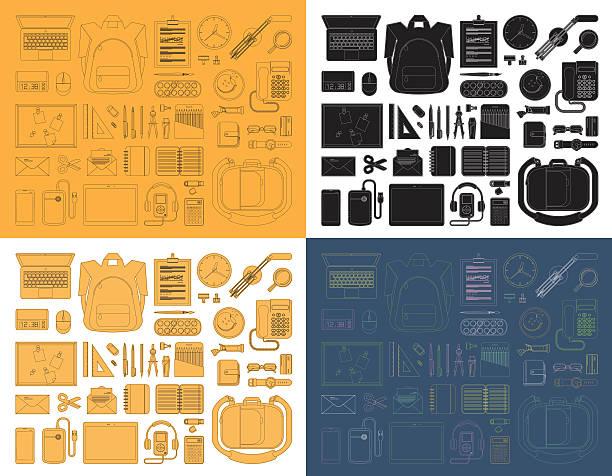 set symbole dünne linie-school-ausstattung. - laptoptaschen stock-grafiken, -clipart, -cartoons und -symbole