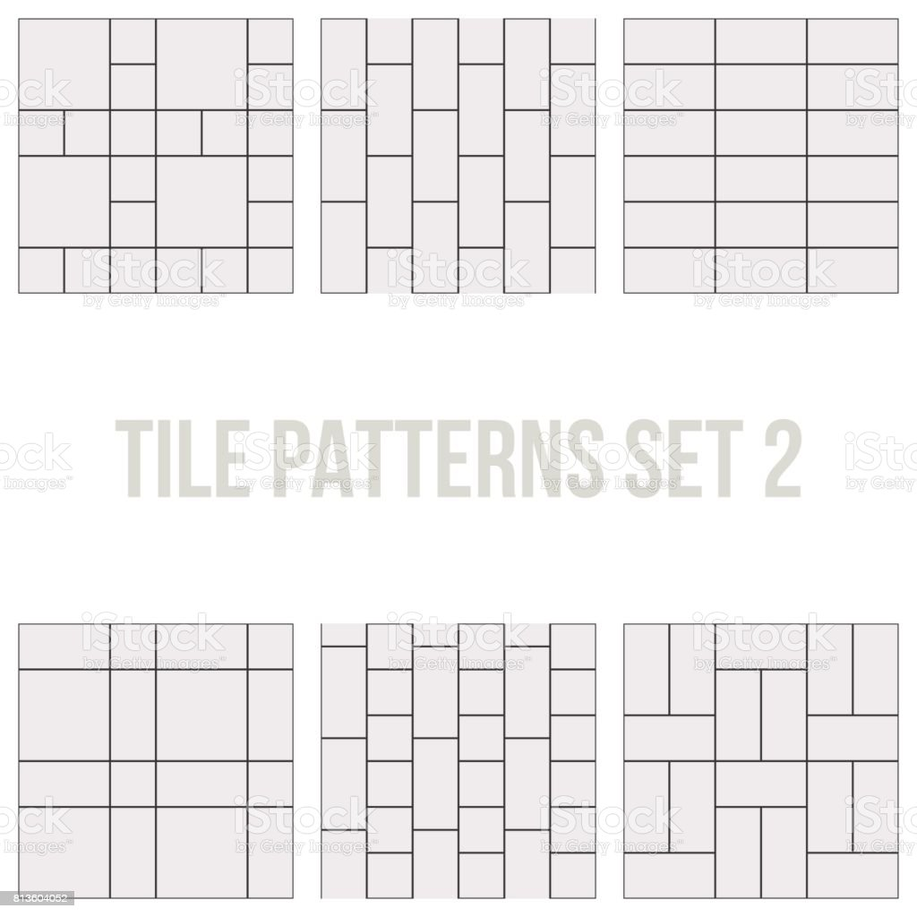 Set of thin line seamless pattern brick tile vector art illustration