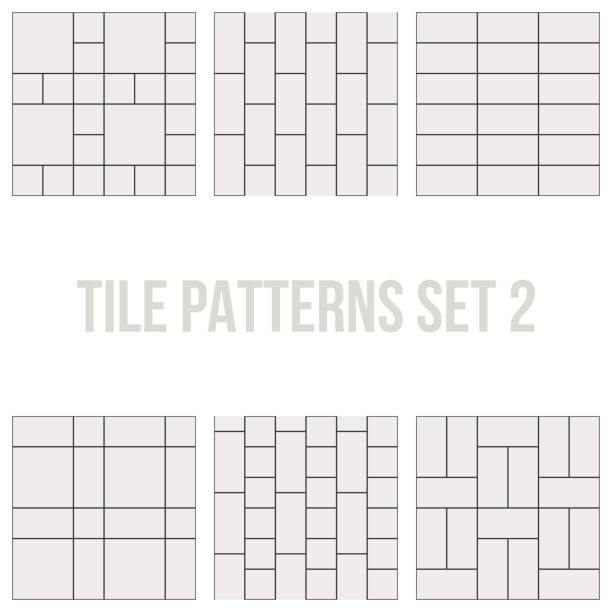 set of thin line seamless pattern brick tile - square foot garden stock illustrations, clip art, cartoons, & icons