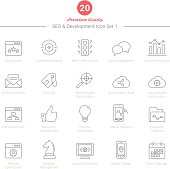 Set of Thin Line SEO and Development icons Set 1