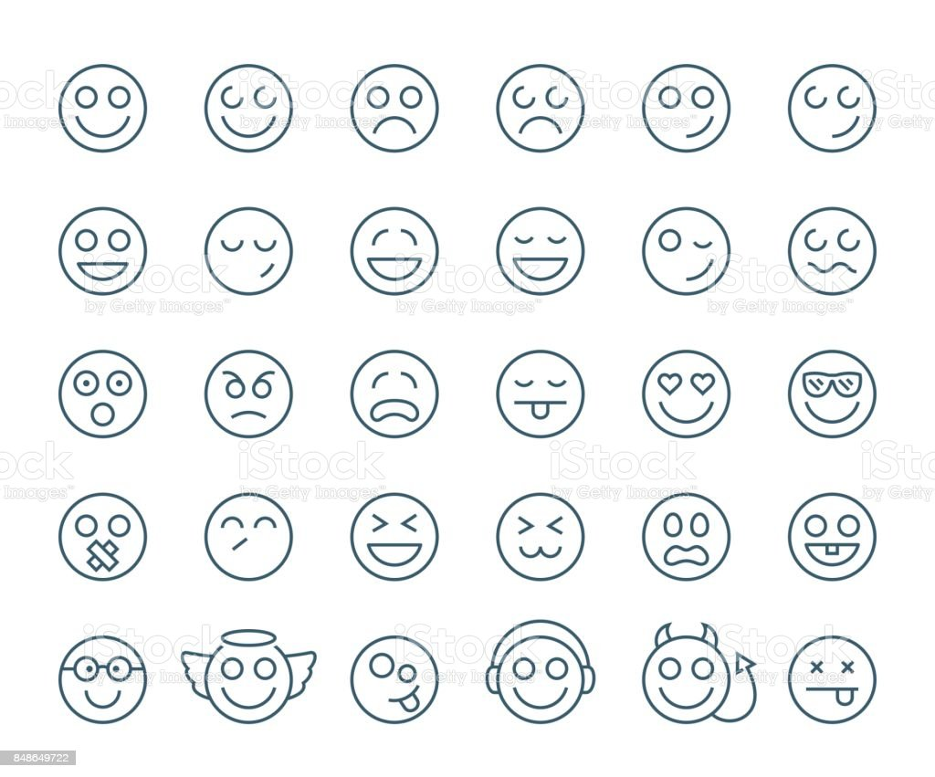Set of thin line smile emoticons or smileys on a white background. Icon collection vector art illustration