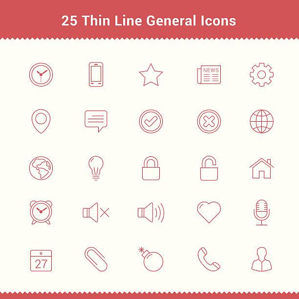 illustrations, cliparts, dessins animés et icônes de ensemble d'icônes ligne mince coup général - calendrier de l'avant