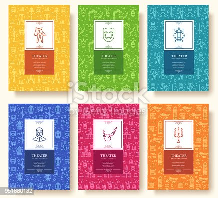 istock Set of thin line theater pattern concept. Art traditional, magazine, book, poster, abstract, banners, element. Vector outline package greeting card or invitation design background 951680132