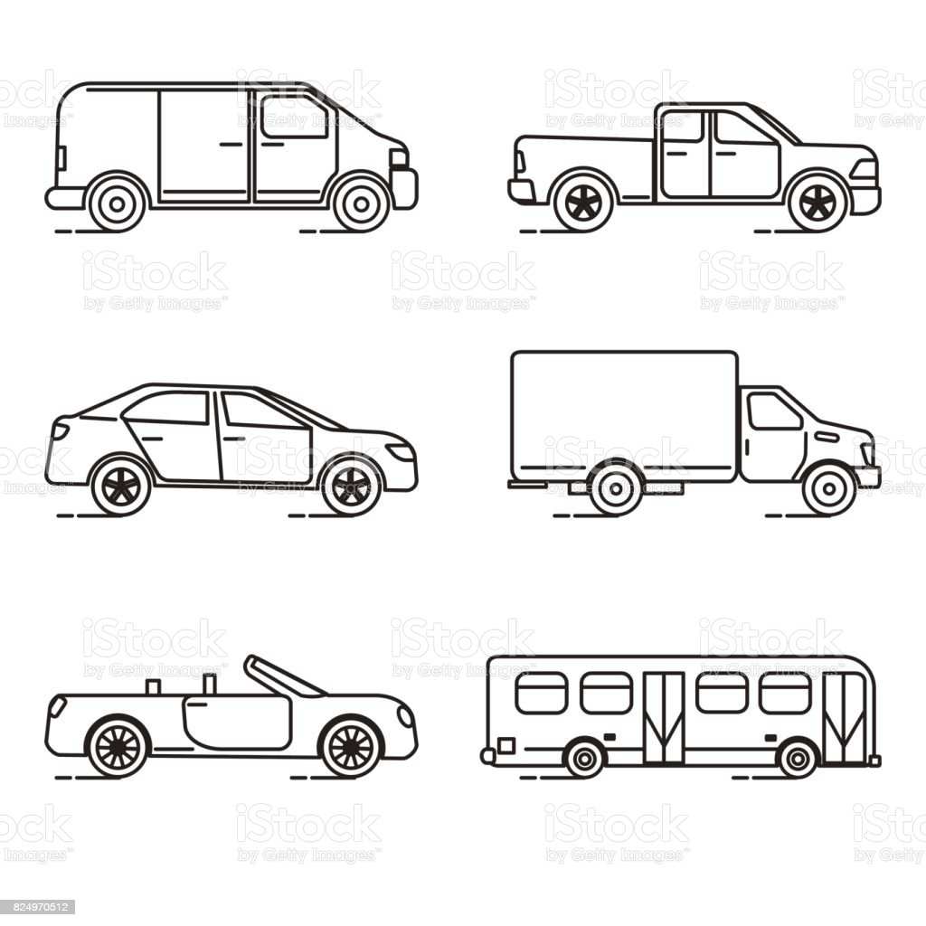 Set of thin line transportation icons vector art illustration