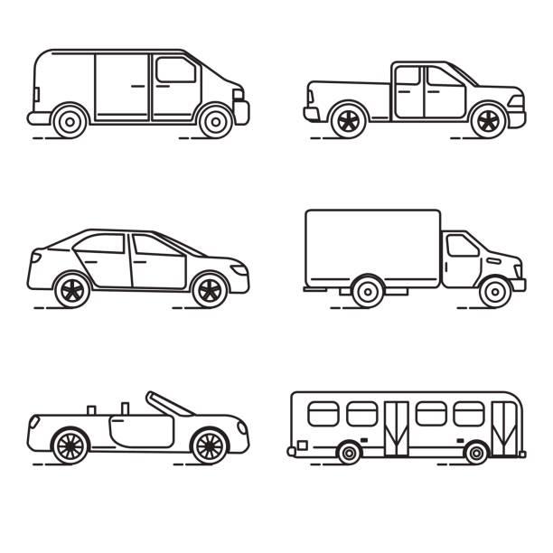 Set of thin line transportation icons Collection of transportation icons in thin line style. Various vehicles - car, truck, bus. mini van stock illustrations