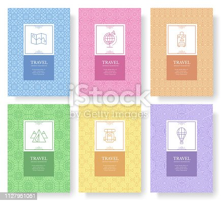 Set of thin line travel pattern concept. Art traditional, magazine, book, poster, abstract, banners, element. Vector outline package greeting card or invitation design