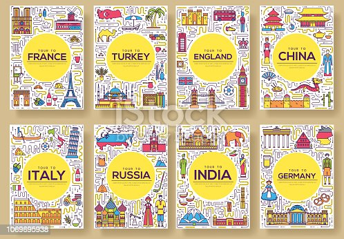 Set of thin line travel world country concept. Art traditional, magazine, book, poster, abstract, banners, element. Vector outline package greeting card or invitation design background.