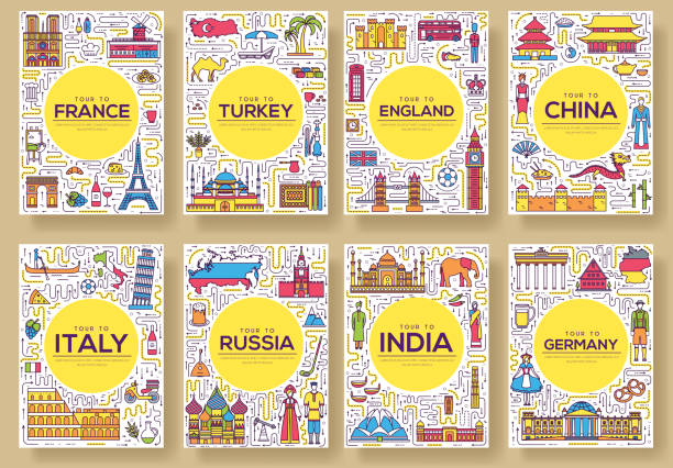 ilustrações de stock, clip art, desenhos animados e ícones de set of thin line travel world country concept. art traditional, magazine, book, poster, abstract, banners, element. vector outline package greeting card or invitation design background - berlin wall