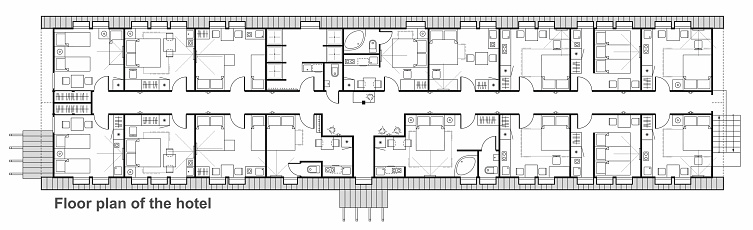 A set of thin line vector icons for interior planning with furniture. Floor Plan design project of hotel rooms. Standard living rooms with a bedroom and a kitchen.