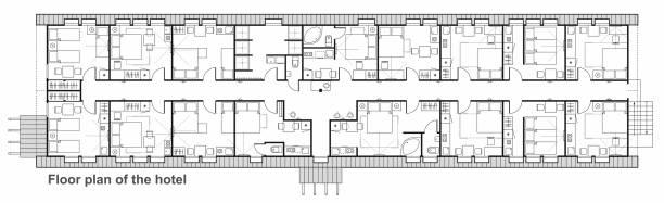 가구와 실내 계획에 대 한 선 벡터 아이콘의 집합입니다. 호텔 객실의 평면도 디자인 프로젝트입니다. 표준 생활 룸은 침실과 부엌입니다. - 호텔 stock illustrations