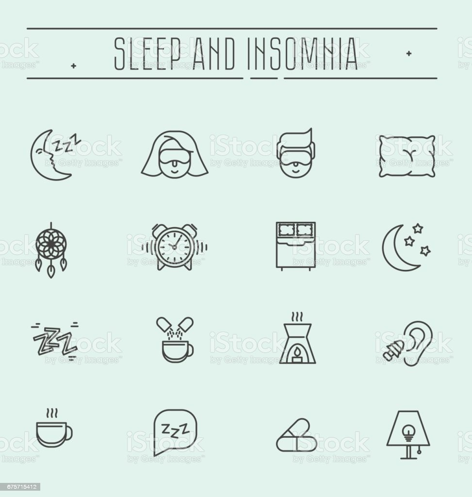 Set of thin line vector icons with symbols of sleep problems and insomnia. Healthcare logo vector illustration.  Treatments and pills, sleeping person with mask, hot drink. vector art illustration