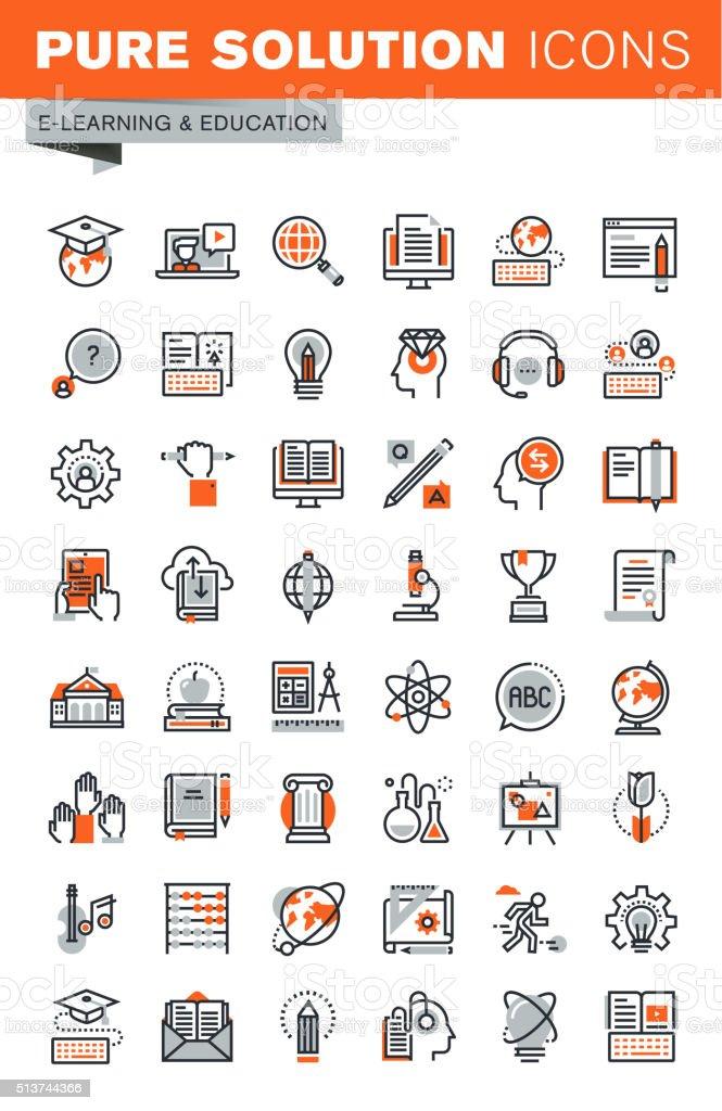 Conjunto de ícones Web para a fina linha de EAD - ilustração de arte em vetor