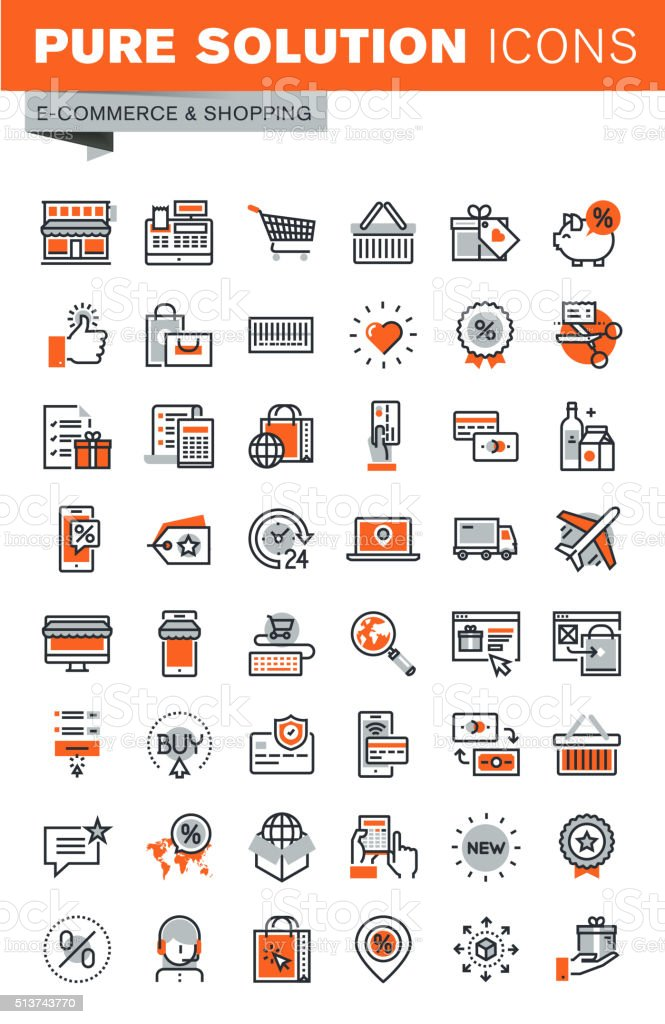 Set of thin line web icons for shopping vector art illustration