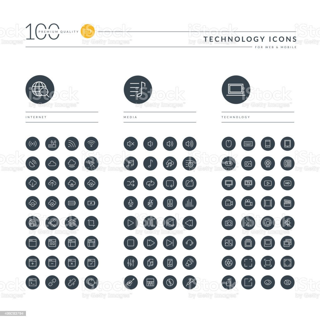 Conjunto de iconos de líneas finas para web de tecnología - ilustración de arte vectorial