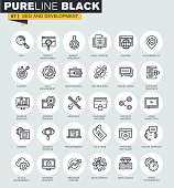 Set of thin line web icons of SEO and development