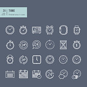 Set of thin line web icons on the theme of time
