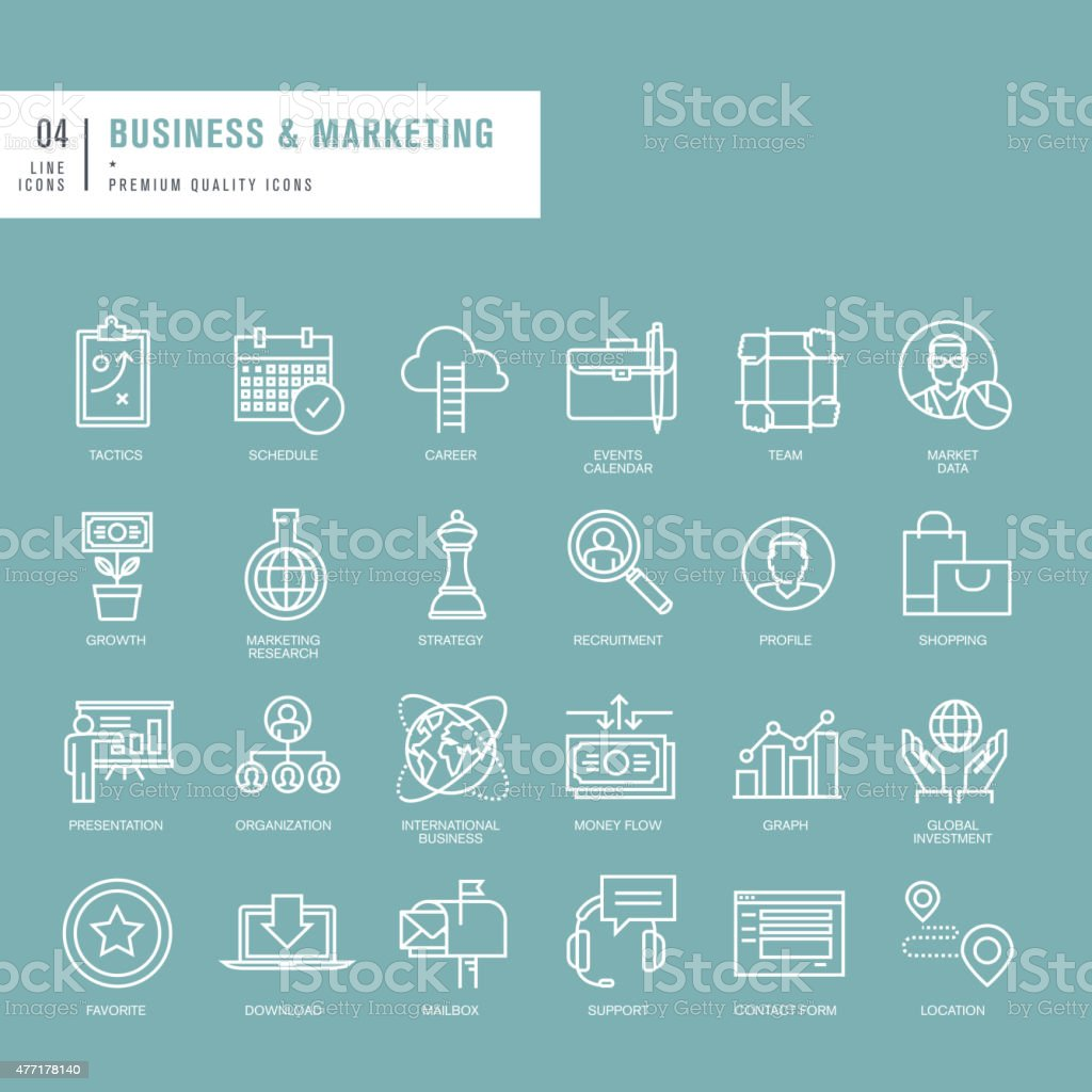 Set of thin lines web icons for business vector art illustration