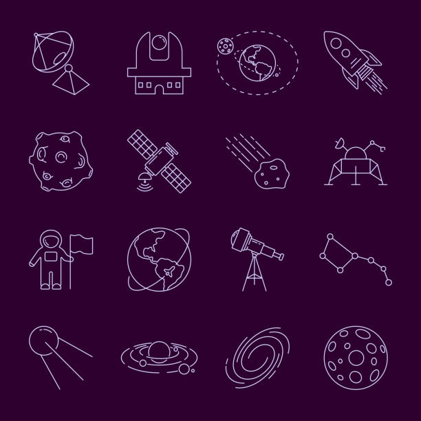 set von thin linevector astronomie und space icons: spaceman, astronaut, sonnensystem, galaxie, planet, erde, satellit, shuttle, rakete, umlaufbahn, asteroid. bearbeitbare stroke. eps 10 - aerial overview soil stock-grafiken, -clipart, -cartoons und -symbole