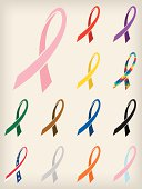 Set of thirteen awareness ribbons