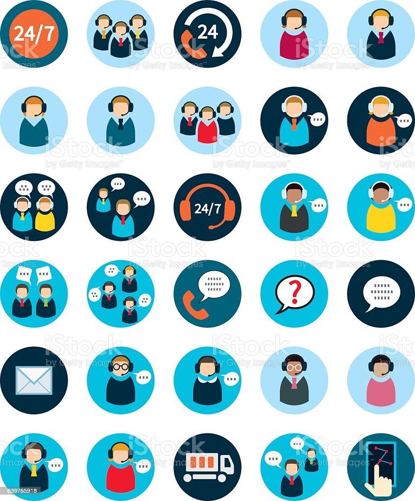 Set of thirty flat call center icons. - ilustración de arte vectorial