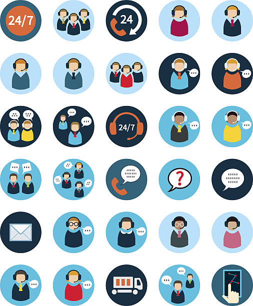 ilustrações, clipart, desenhos animados e ícones de set of thirty flat call center icons. - call center