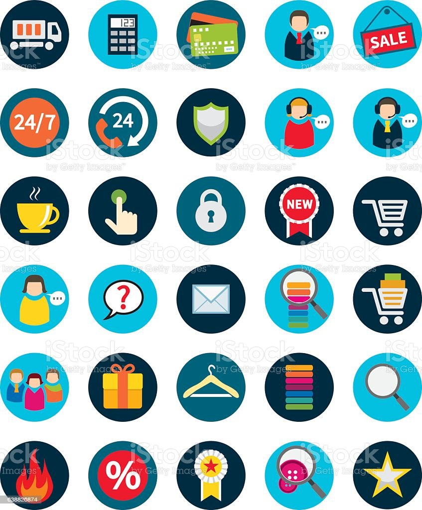 Set of thirty flat shopping icons. vector art illustration