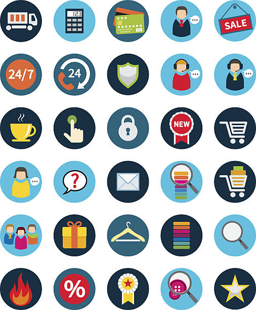 set of thirty flat shopping icons. - retail worker stock illustrations, clip art, cartoons, & icons