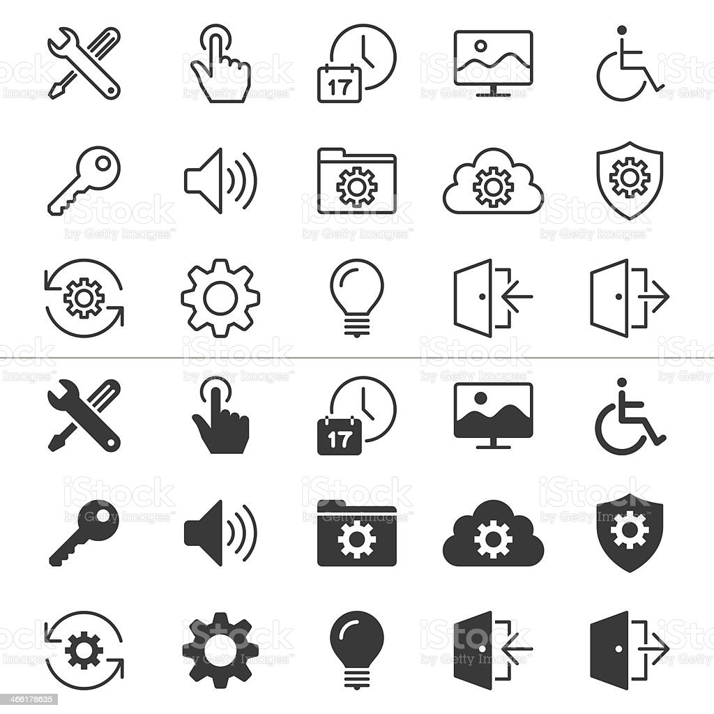 Set of thirty setting icons in white and black vector art illustration