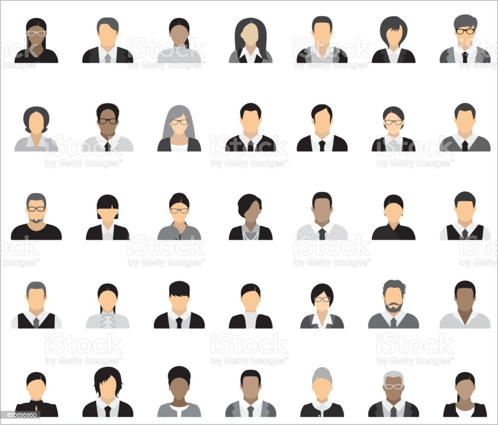 Set of thirty-five icons of business people. vector art illustration