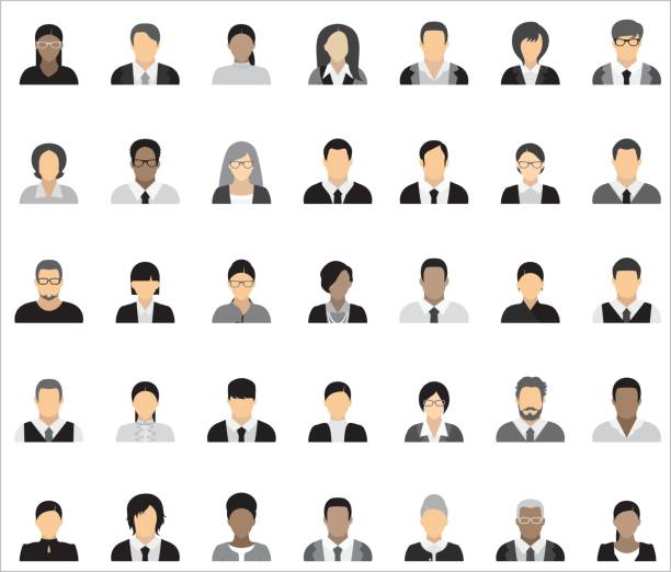 set of thirty-five icons of business people. - business people stock illustrations, clip art, cartoons, & icons