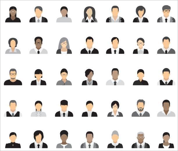 ilustraciones, imágenes clip art, dibujos animados e iconos de stock de conjunto de treinta y cinco iconos de la gente de negocios. - gente de negocios