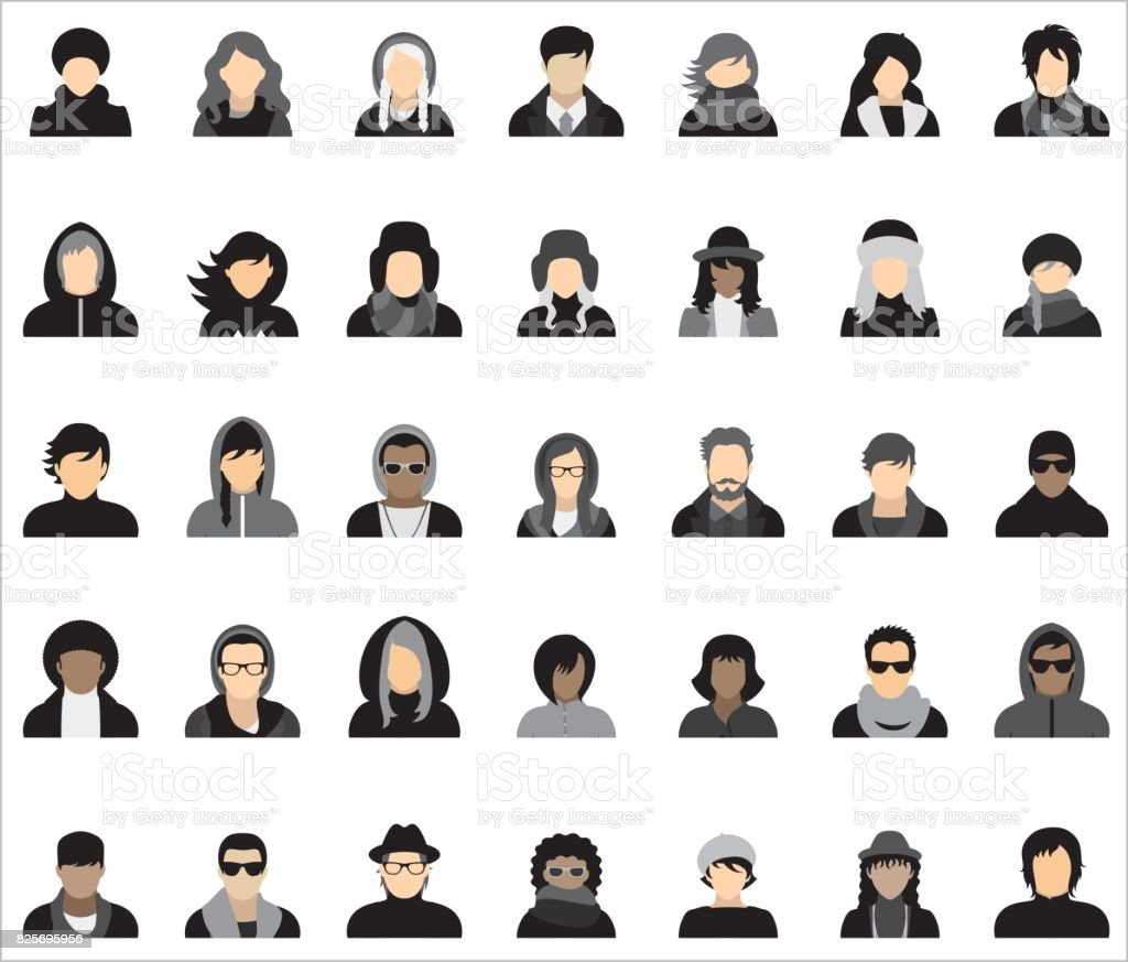 Set of thirty-five icons of people dressed in various styles of autumn/winter fashion. vector art illustration