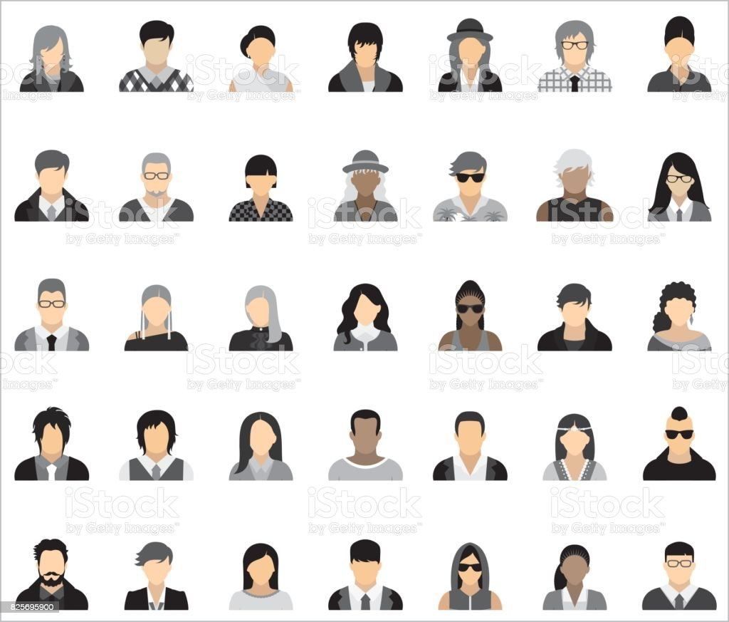 Set of thirty-five icons of people. vector art illustration