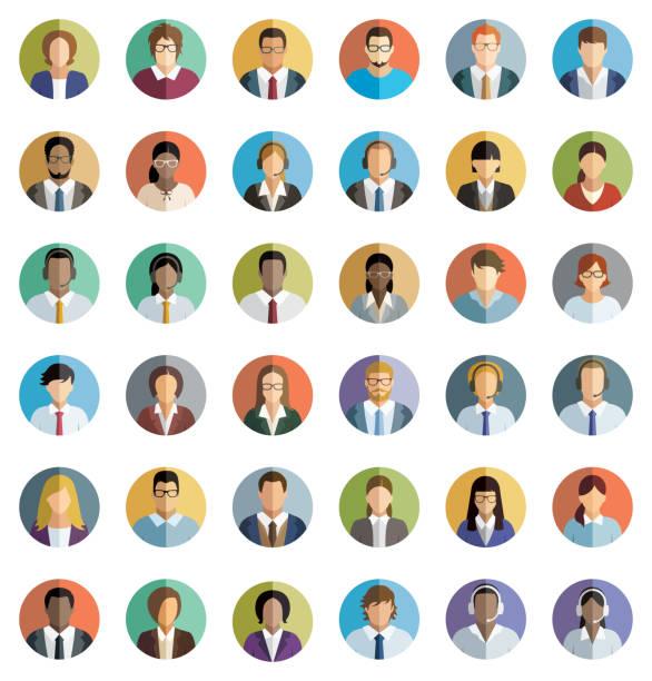 ilustrações, clipart, desenhos animados e ícones de conjunto de trinta e seis plana rodada ícones de jovens empresários. - avatar