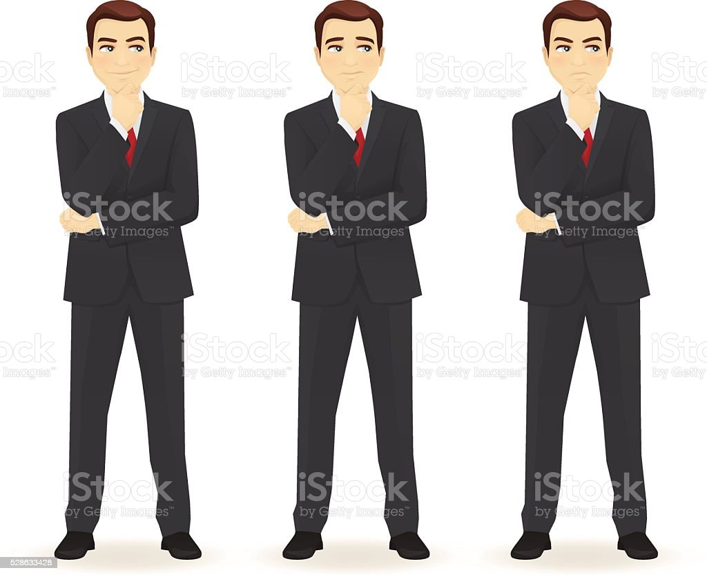 Set of thoughtful business man vector art illustration