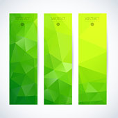 Set of three abstract green mosaic vertical banners