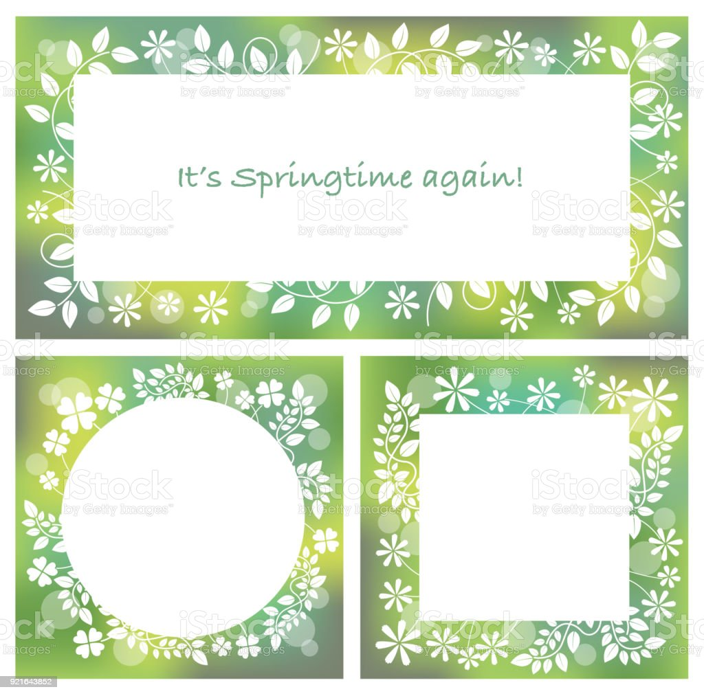 A Set Of Three Abstract Springtime Frames Vector Illustrations Stock ...