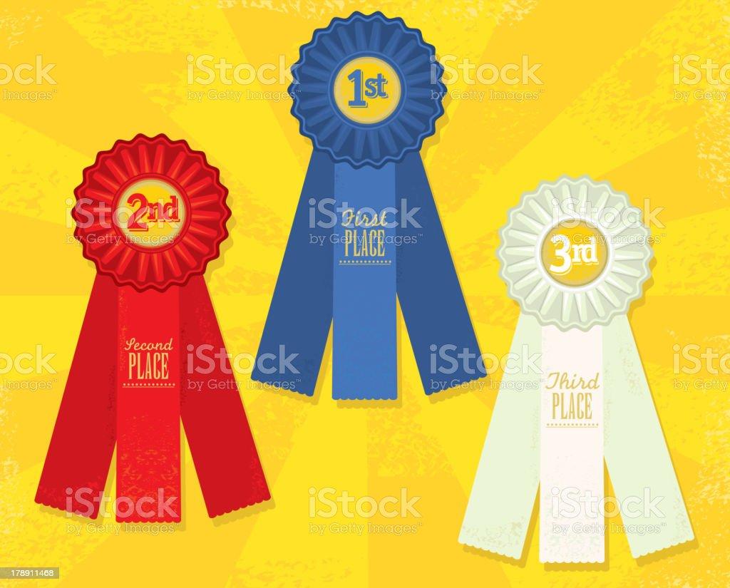 Set of three Award ribbons royalty-free stock vector art