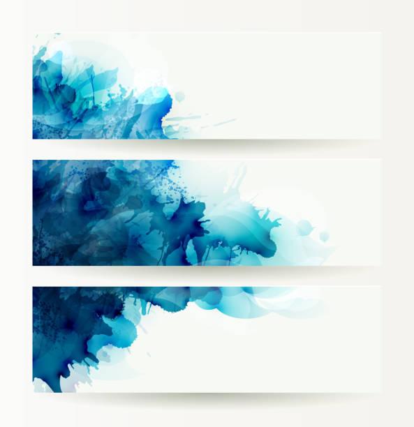 Conjunto de três banners, cabeçalhos abstratos com Azul blots - ilustração de arte em vetor
