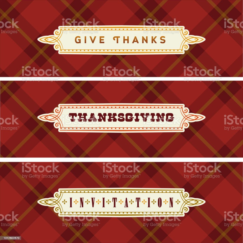 Set of three banners for Thanksgiving Day vector art illustration