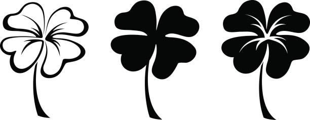 set of three black silhouettes of four leaf clovers. vector illustration. - celtic tattoos stock illustrations, clip art, cartoons, & icons