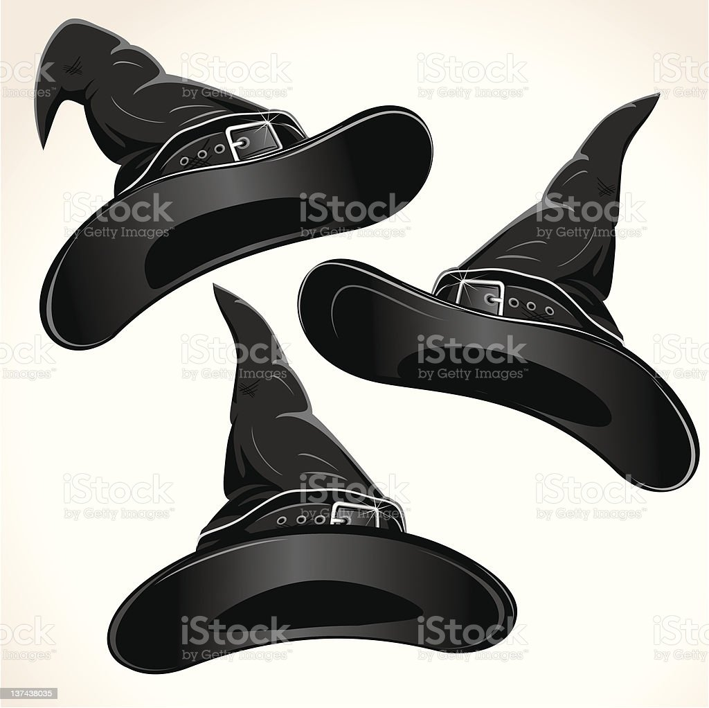 Set of three black witch hats isolated on white royalty-free stock vector art